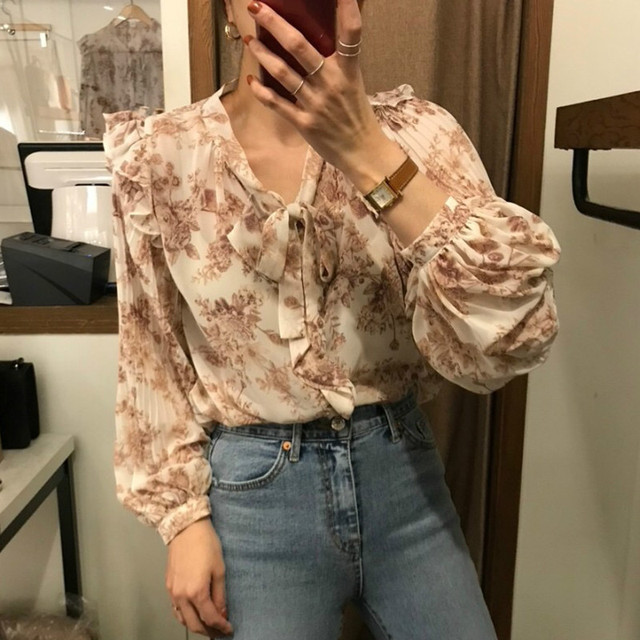 Ezgaga Blouse Women Korean Chic Sweet Lace Up V-Neck Floral Printed Long Lantern Sleeve Ruffles Ladies Shirts Fashion Blusas 5
