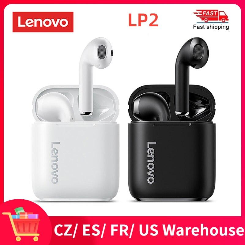 Беспроводные наушники Lenovo LP2, Bluetooth 5,0, стерео, бас, сенсорное управление, беспроводные наушники, спортивные наушники-вкладыши, водонепроница...