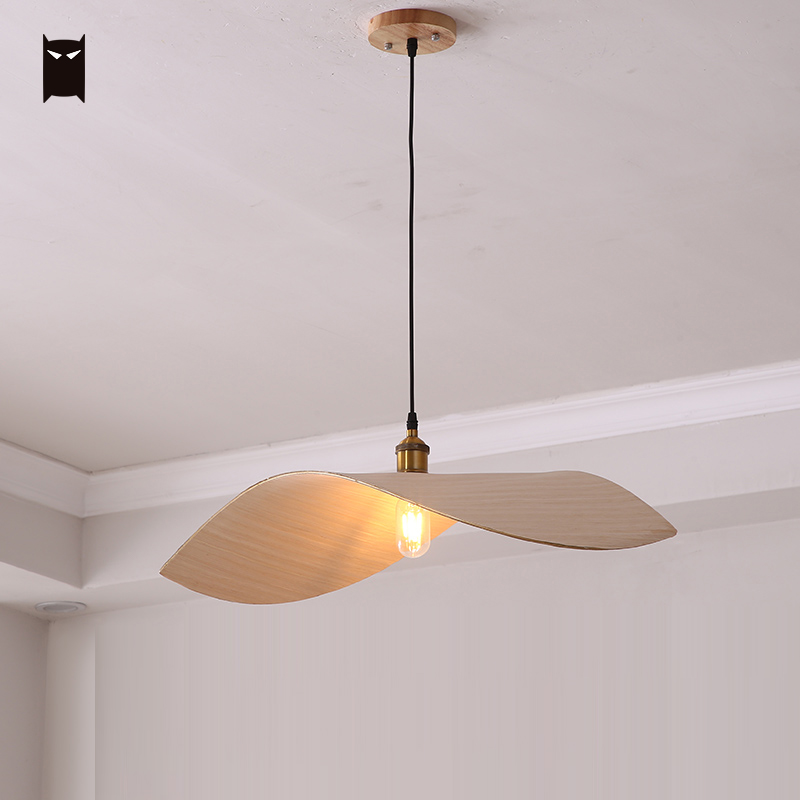 Oak Wood Wing Shade Pendant Light