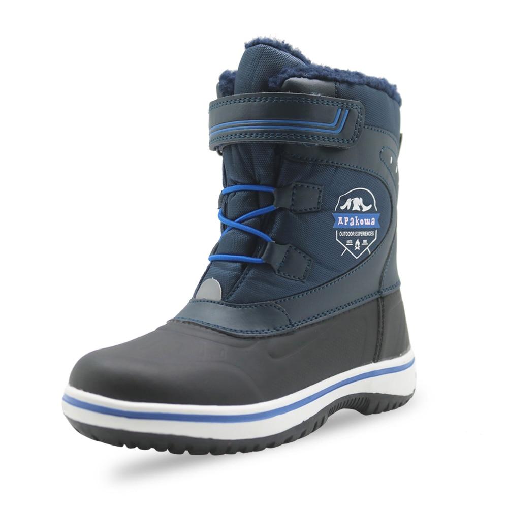 Apakowa Boys Winter Boots Lining Outdoor-Shoes Warm Waterproof Kids Non-Slip Lightweight