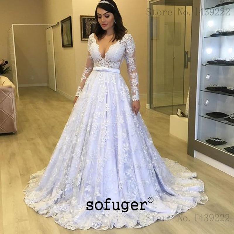 Blanc Long col en V Court Train Robe De mariée Robe De mariée Robe De Mariee Sofuge Boho dubaï arabe Abiti Da Sposa