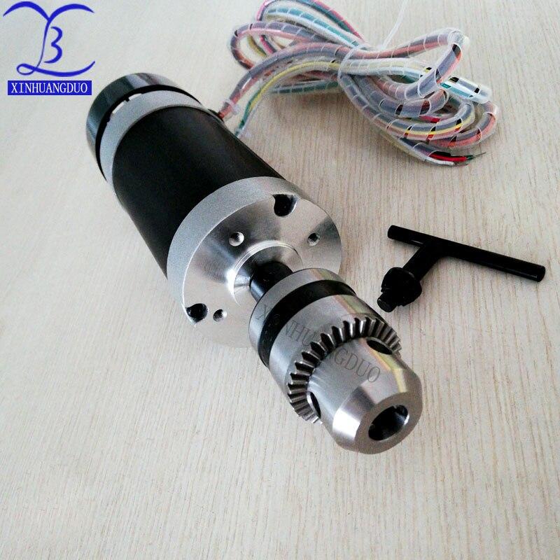 Mandrin de perceuse à moteur 500W | Mandrin de perceuse à moteur sans balais 48VDC, gravure à distance et fraisage, broche refroidie par Air + ventilateur, serrage de bouche Long 1.5 - 10