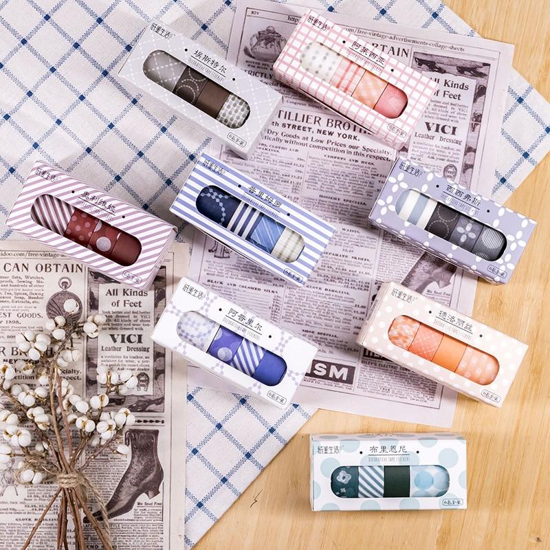 6 Pcs/pack Retro Series Journal Washi Tape Set DIY Scrapbooking Sticker Label Masking Tape School Office Supply