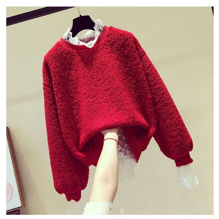 plus velvet thick hoodies fake two-piece lamb wool tops oversize sweatshirt women winter clothes 2020 new Korean style loose 1