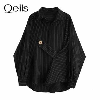 Qeils Spring Autumn 2021 Women Black Striped Big Size Blouse New Lapel Long Sleeve Bandage Loose Fit Shirt Fashion Tide 1