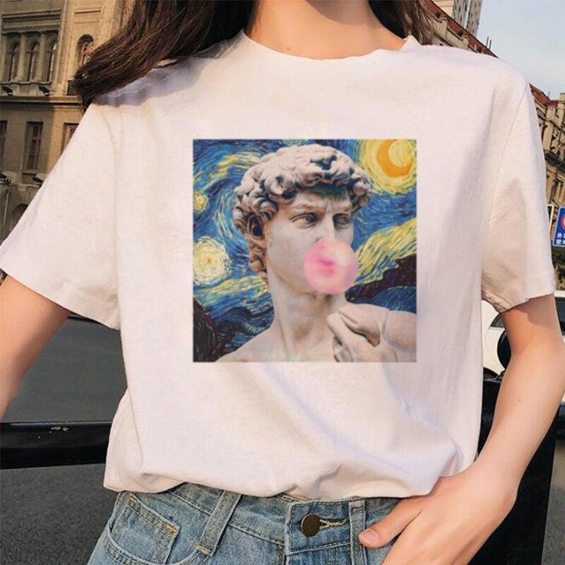 Michelangelo/2019 летняя футболка с принтом, с короткими рукавами, статуя пузыря, жевательная резинка, с принтом, забавная Футболка Harajuku, большие раз...