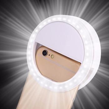 36 lampka do Selfie LED lampa błyskowa do telefonu lekka kamera Led Clip-on telefon komórkowy Selfie lampa pierścieniowa lampa wideo zwiększająca lampa do Selfie tanie i dobre opinie LEING FST SAMSUNG Third gear condition AAA Battery NONE CN (pochodzenie) 36 LED Selfie Ring Light black Plastic 1 5V(AAA)* 2(Not included)