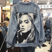 Spring Autumn New Women Holes Patch Denim Jacket Female Student Loose Vintage Jean Jackets Girls Basic Coats