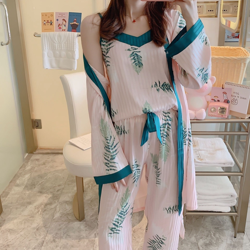JULY'S SONG Woman New Spring Pajamas Set Sling 3 Pieces Satin Faux Silk Autumn Summer Printing Casual Sleepwear Women Home Wear