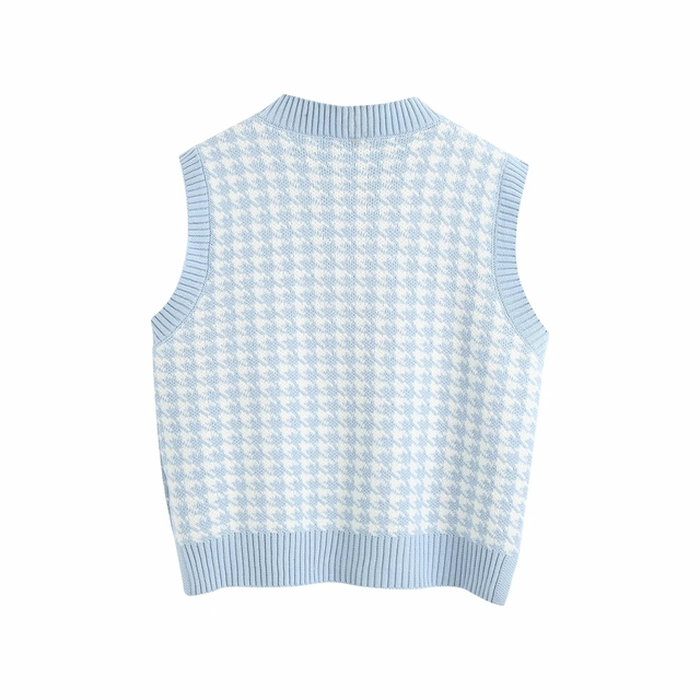 Fashion sleeveless vest sweater women pullover casual v neck knitted sweater winter cute korean sweater 2020 2