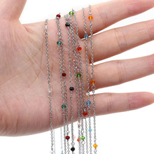 2021 New Fashion Stainless Steel Chain Colorful Crystal Glass Bead for DIY Craft Jewelry Making Accessorie Fit Necklace Bracelet