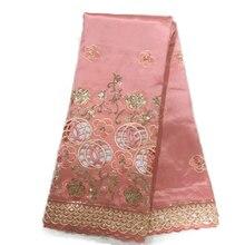 Индийское, высокого качества ткань для платья вечерние, розовая африканская блестка с кружевом 5 ярдов шелковые нигерийские Ткани