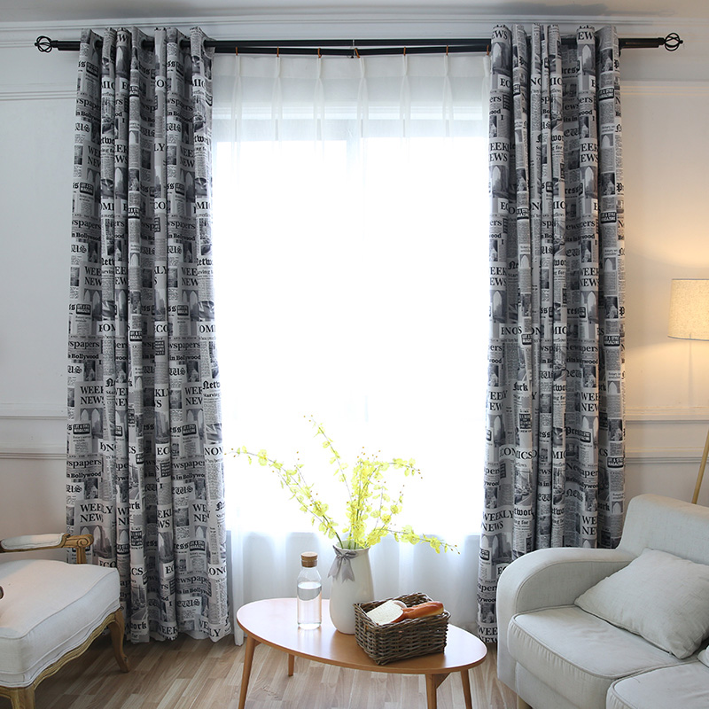 Vintage Style Newspaper Print Blackout Curtains for Living Room Bedroom Kitchen Door Decorative Curtain Drapes Window Treatments