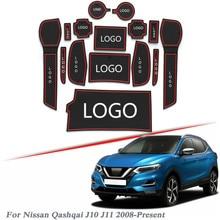 Brand LOGO Car Styling For Nissan Qashqai J10 J11 2008 2020 Gate slot pad Interior Door Groove Mat Non slip dust Mat Accessory