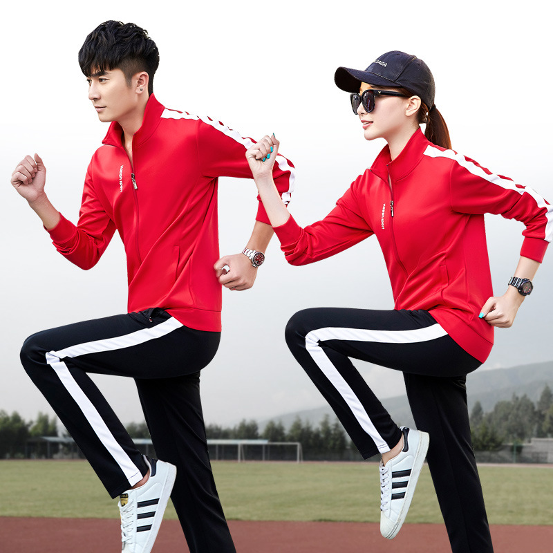 New Style Couples Leisure Suit Team Activity Stand Collar Fitness Sports Clothing Spring And Autumn Two-Piece Set