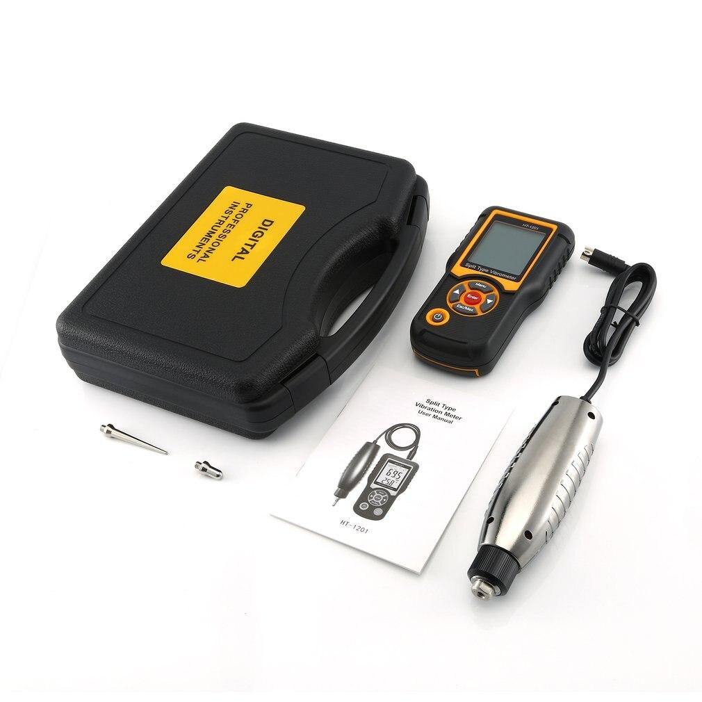 Aletler'ten Genişlik Ölçme Cihazları'de Dijital hassas Split tip titreşim ölçer cihazı hızlanma sensörü göstergesi LCD arka HT 1201 hız ölçüm title=