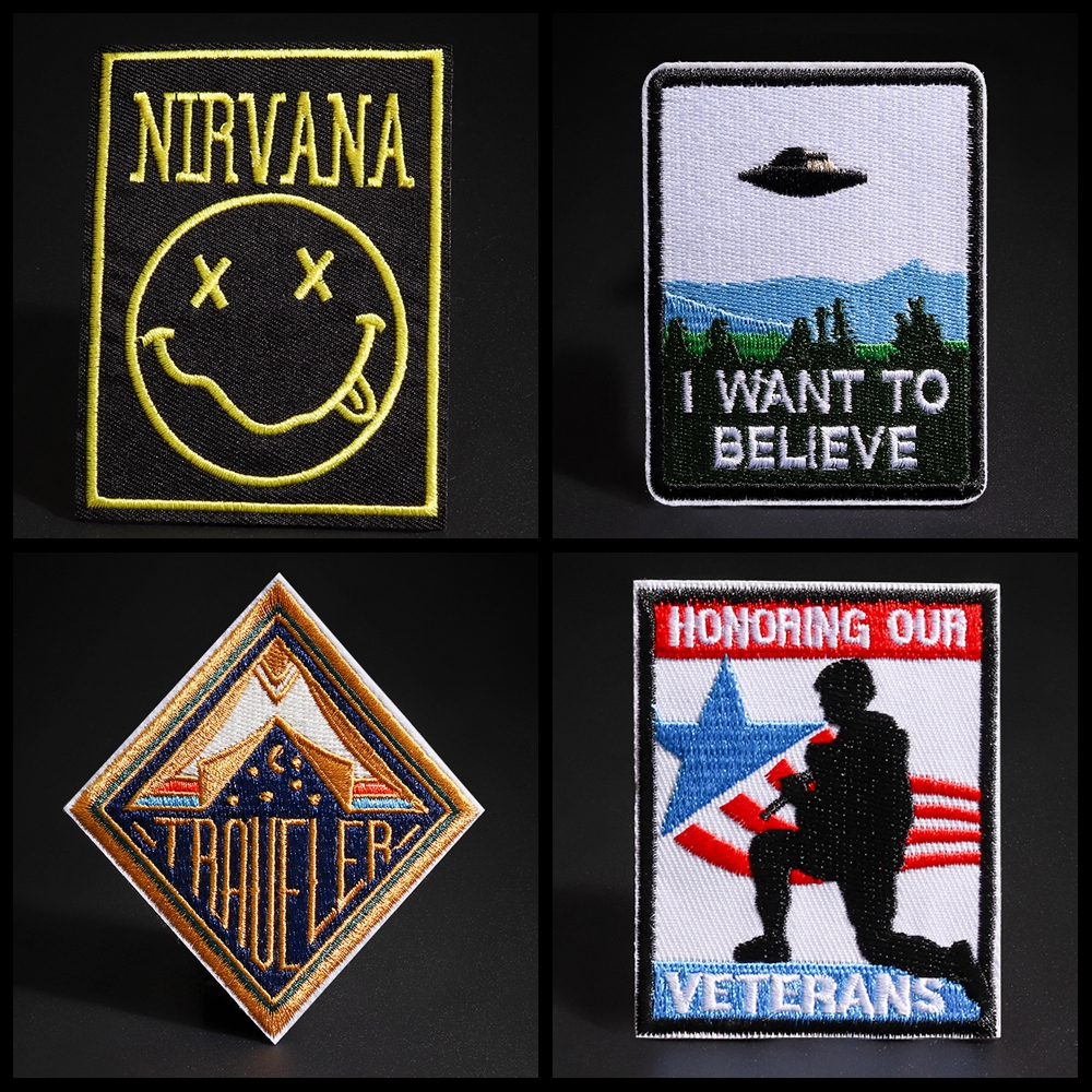 UFO Airship Patches Skull Punk Iron On Rock Of Nirvana Music Embroidery Applique Smile Face Badges Transfer Brand Stickers