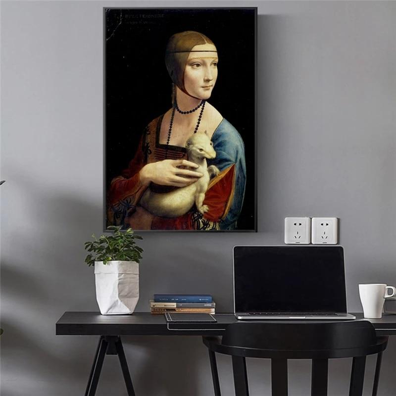 Senhora e ermine pintura em tela leonardo da vinci famoso arte da parede cartazes e impressões cuadros decoração de parede para casa