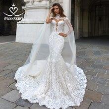 Swanskirt Appliques 2 In 1 Mermaid Wedding Dress 2020 Sweetheart Lace Illusion Customized Princess Bride Vestido de novia F267