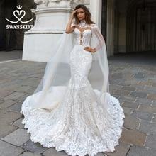 Swanskirt aplikacje 2 w 1 syrenka suknia ślubna 2020 Sweetheart koronki Illusion dostosowane księżniczka panna młoda Vestido de novia F267