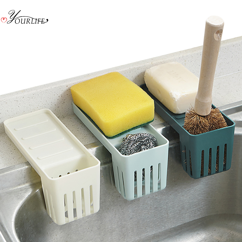 OYOURLIFE Strong Suction Cup Sink Holder Fork Spoon Cutlery Sponge Drain Drying Storage Rack Kitchen Sink Accessories Organizer