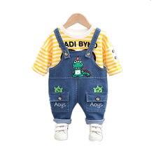 Новая весенне осенняя одежда для маленьких девочек Детская Хлопковая