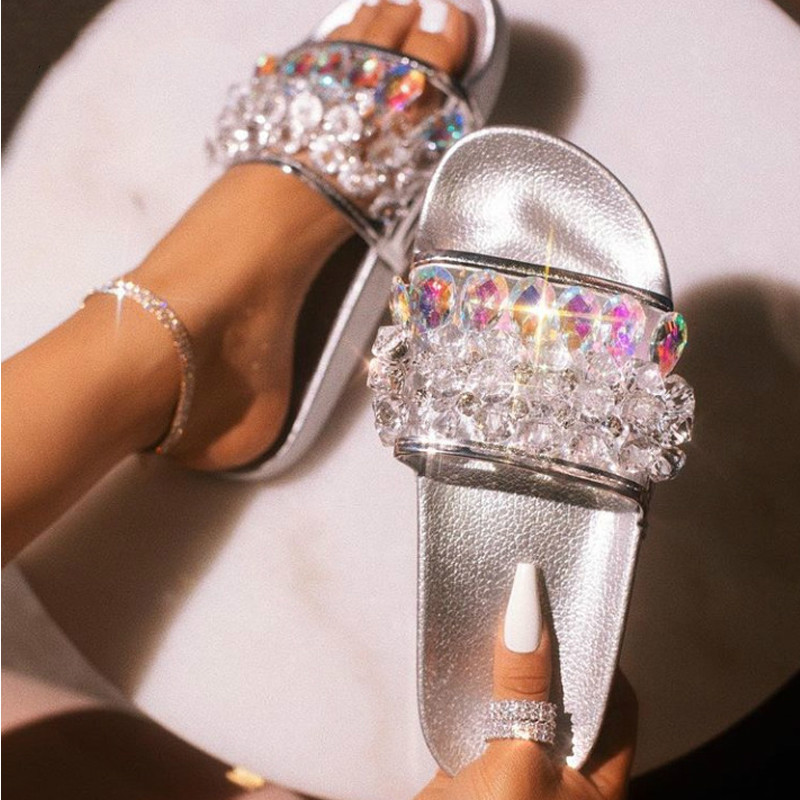 Coslony Summer Women Fashion Luxury Transparent Crystal Slippers Sandals Casual Clear Beach Flip Flops Flat Slip On Shoes Woman