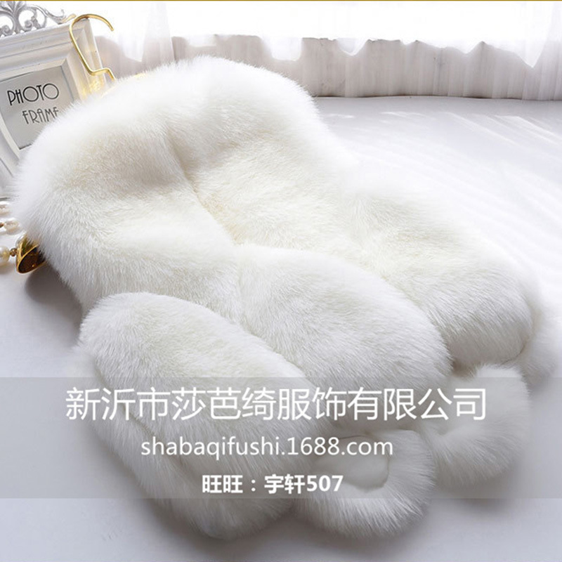 New Fox Fur Grass Vest Short Coat Women's Winter Fur Imitation Coat Winter Warm Soft Fox Fur Coat Fur Vest Girl Coat Long Jacket