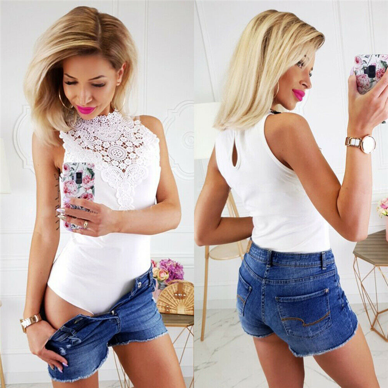 Women Fashion Bandage Bodycon Lace Body Top Elegant Sleeveless Summer Leotard Dames Streetwear Ladies Romper white body suit