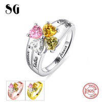 Hot Sale 925 Sterling Sliver Engraved MOM Jewelry Mother's Love and Luck Birthstones Ring Custom Name Rings For Mother's Gifts