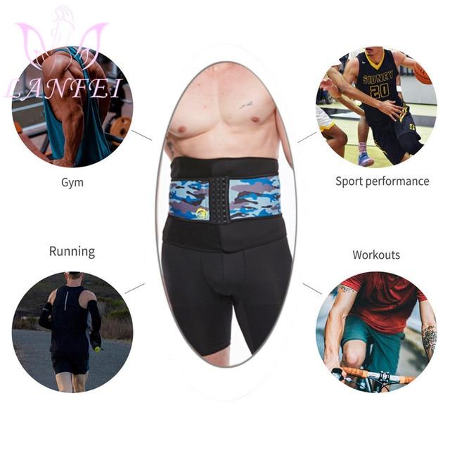 LANFEI Men Neoprene Waist Trainer Corset Sauna Slimming Body Shaper Cincher Sweat Girdle Belt Weight Loss Tummy Control Strap 5