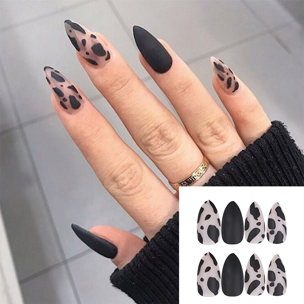 24 шт./кор. черная матовая искусственная кожа с леопардовой расцветки накладные ногти на каблуке-шпильке с изображением коровы, накладные но...
