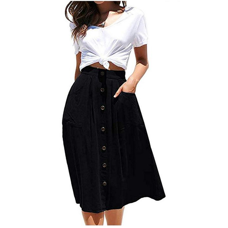 2020 Vintage Womens Skirt Fashion A-line Midi Skirt Elastic High Waist Solid Color Front Button Casual Pleated Skirt with Pocket