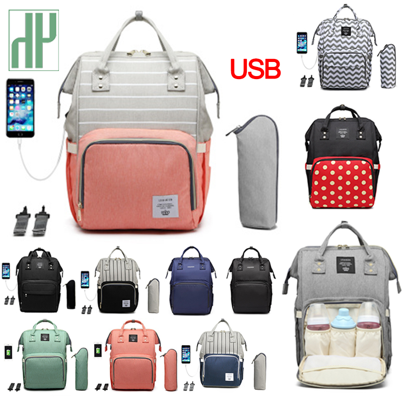 Fashion Diaper Bag USB Mummy Maternity Baby Large Multifunction Travel Stroller Backpack Designer Nursing Baby Care Nappy Bag