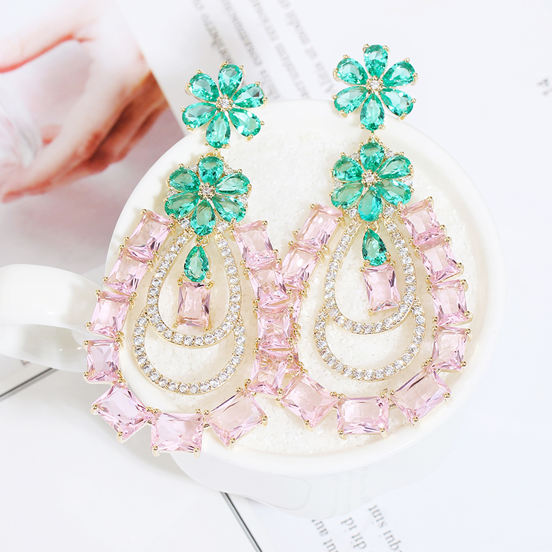VERY GIRl 67mm Pink Water Drop Earrings CZ Zircon Crystal Wedding Hollow Women Bridal Brincos