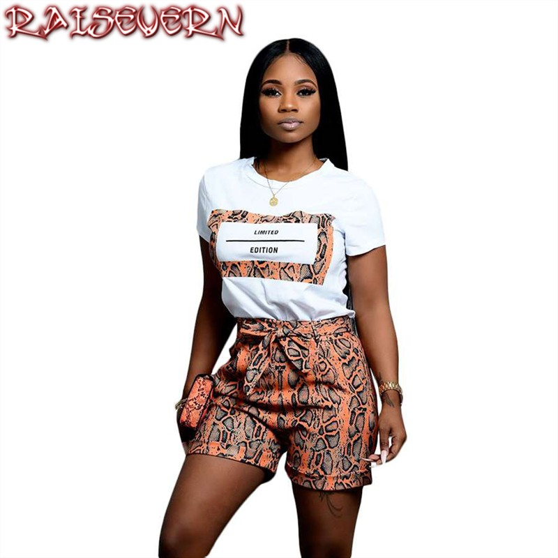 Two Piece Set Fashion Snake Skin Woman Set Letter Print Casual High Waist Bow Tie Shorts With A T-Shirt 2 Piece Set Women Suit