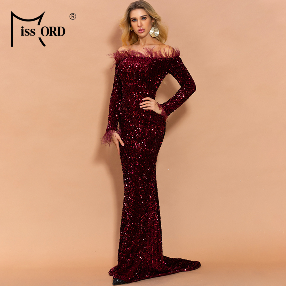 Hd08a45459e574846ba0adb2d92c0a98ch - Missord Sexy Off Shoulder Feather Long Sleeve Sequin floor length Evening Party Maxi Reflective Dress Vestdios FT19005