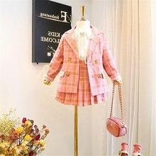 2019 jesień nowy nabytek dziewczyny moda różowy garnitur dzieci 2 sztuk zestawy płaszcz + spódnica ubrania dla