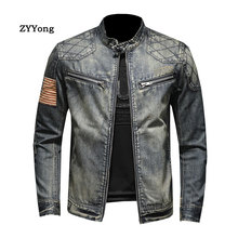 Fashion Bomber Military Style Men Denim Jackets Slim Fit Casual Mens Coat 2020 Fashion Vintage Clothes for Men Plus Size 5XL