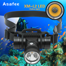 Asafee Diving Headlight Headlamp Head Flashlight 1000LM XML L2 LED Waterproof Underwater 50M Diving Light Flashlight Torch lamp diving flashlight xml l2 led diving torch 5000 lumen underwater light waterproof flashlight 18650 battery and usb charger set