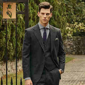 Dark Grey Wool Men Suits For Wedding 2019