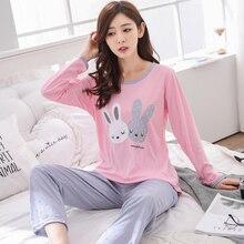 Осенне-зимние хлопковые Пижамные комплекты для женщин, пижама с длинным рукавом, женская одежда для сна с кроликом, Дамская Домашняя одежда с героями мультфильмов размера плюс
