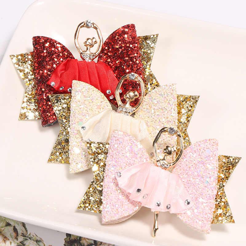 2019 New Fashion Cartoon Hair Clip Princess Glitter Hair Bows with Clip Dance Party Bow Hair Clip Girls Hair Accessories