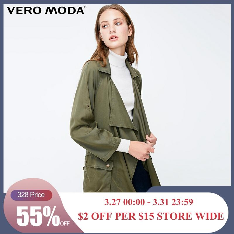 Vero Moda Women's Decorative Pocket Loose Fit Army Green Lapel Trench Coat | 318317505