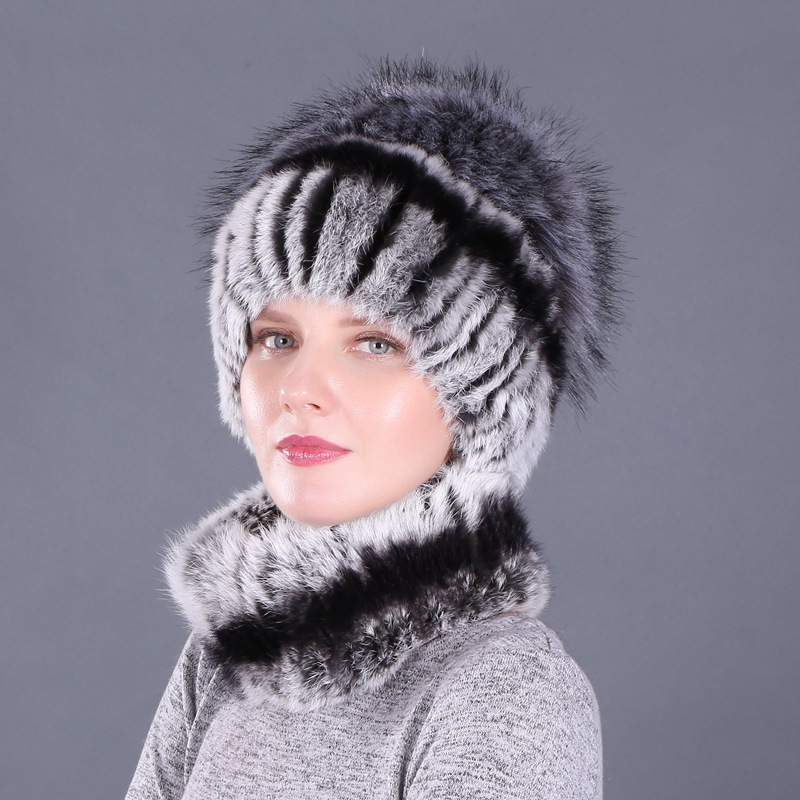 Купить высокое качество меховая шапка из натурального кролика комплект