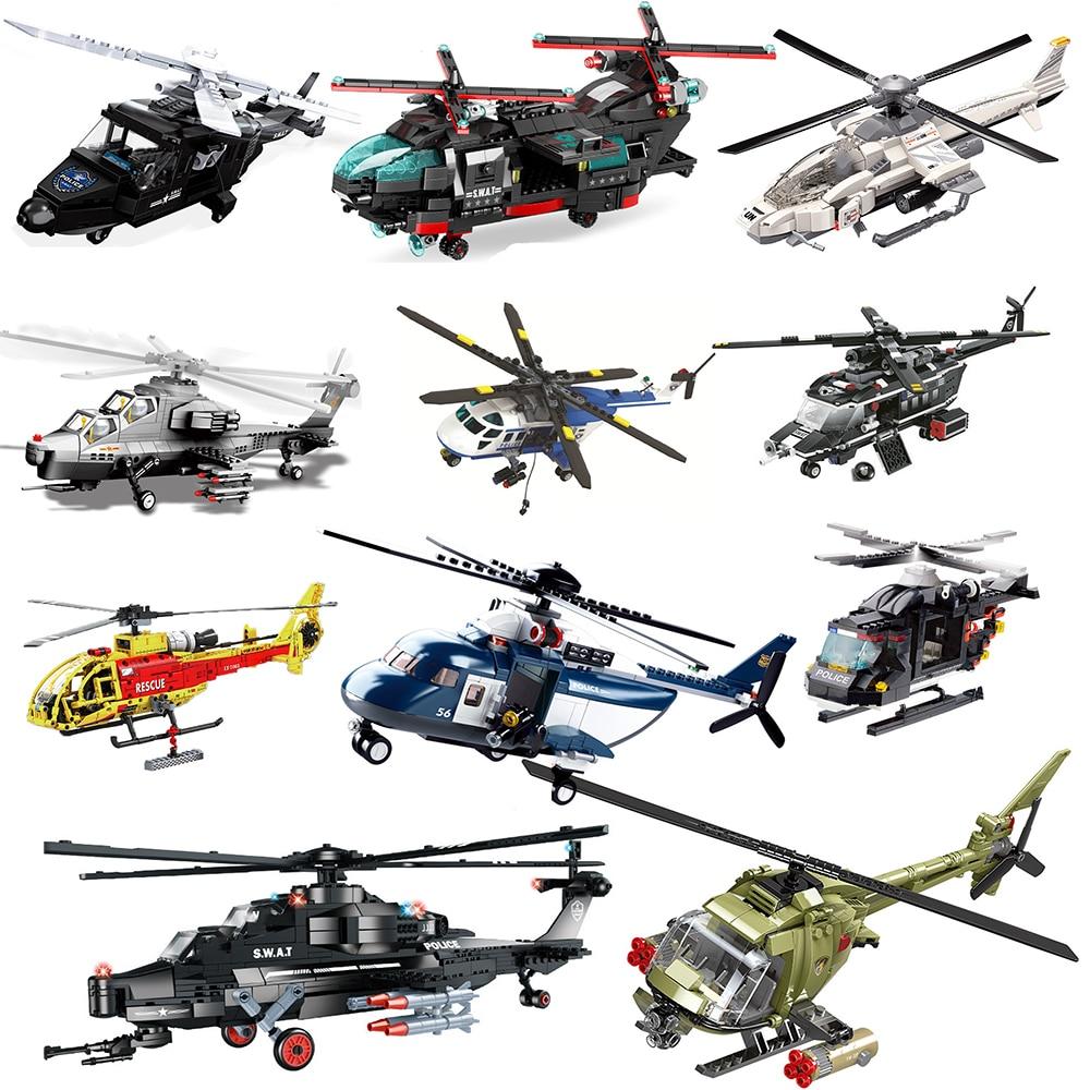 Technic набор вертолетов городской полицейский военный самолет строительные блоки военный армейский боец пожарно-спасательный huey вертолет swat черный ястреб