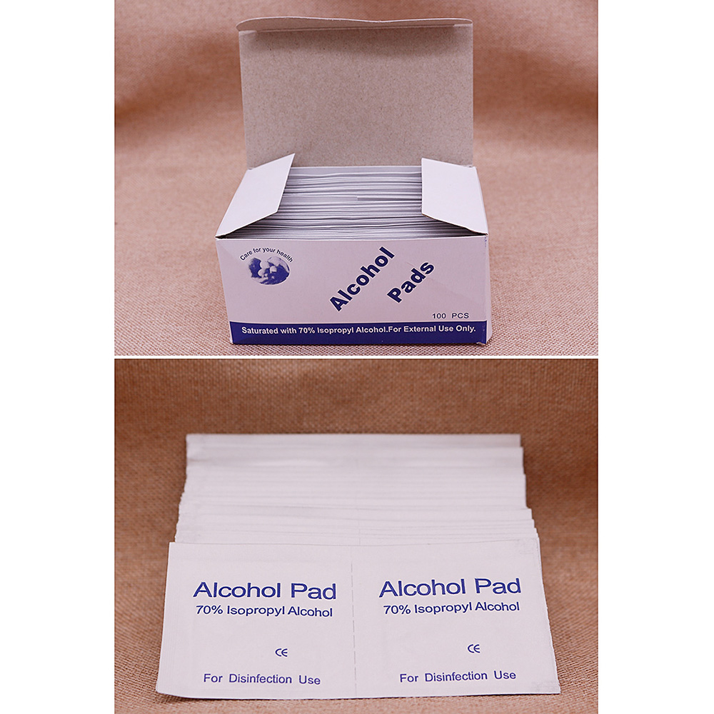 100Pcs/Set Disposable Alcohol Wet Wipe Disinfection Prep Swap Pad Antiseptic Skin Cleaning Care Jewelry Mobile Phone Clean Wipe
