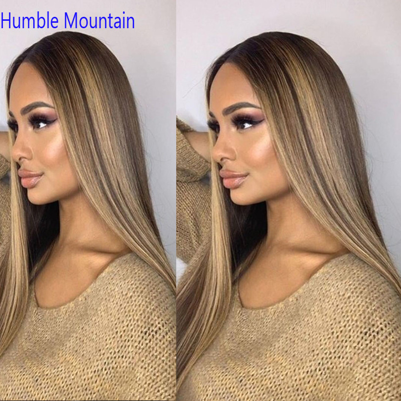 "Highlight Blonde 370 Lace Frontal Wig Pre Plucked With Baby Hair 10""-30"" Ombre Color Remy Peruvian Straight Wigs"