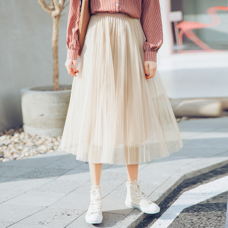 2019 New Products Skirt High-waisted Korean-style Elegant Versatile A- Line Skirt Solid Color Gauze Pleated Skirt