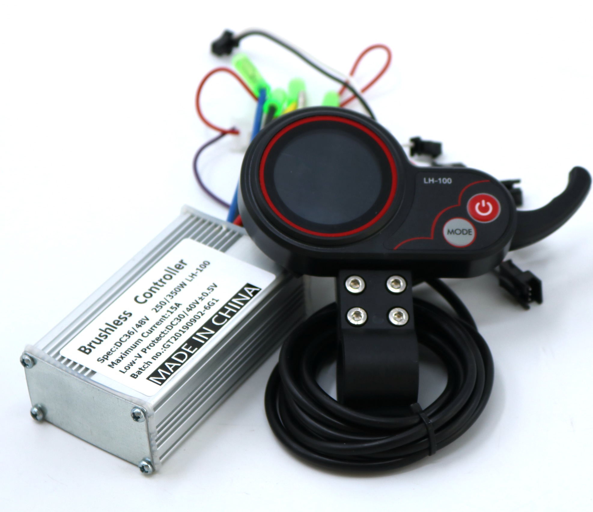 GREENTIME 24V/36V/48V 250/350W BLDC Electric Scooter Controller E-bike Brushless Speed Driver And LH-100 LCD Display One Set